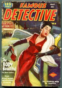 Famous Detective Stories Pulp May 1952- Body Beautiful VG