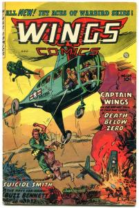 WINGS-#124-GREAT COVER-FICTION HOUSE FINAL ISSUE-RARE VG/FN