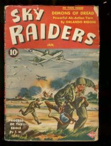 SKY RAIDERS PULP JAN 1944-DEMONS OF DREAD-TOMMY GUN COV VG