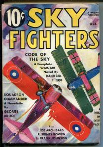 SKY FIGHTERS 10/1935-AIR WAR PULP-WWI-BI-PLANE-THRILLS-MAJ GEORGE ELIOT-vf minus