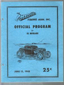 Russetta Timing Assn-Race Program-El Mirage 6/13/1948-entry list-FN