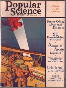 Popular Science 7/1930-PAUS cover-US Mail-American Drug Fiends-Amos & Andy-FN