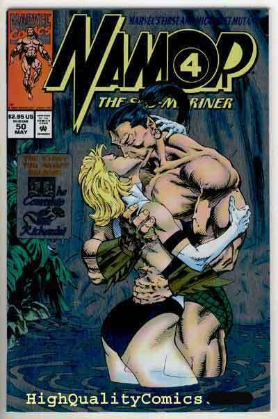 NAMOR #50, NM+, Sub-Mariner kissing Sue Richards ,1994, Foil cover, w/ cards
