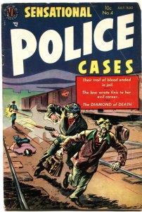 SENSATIONAL POLICE CASES #4-1954-PRISON BREAK-SPANKING & GIRL FIGHT PANELS-AVON
