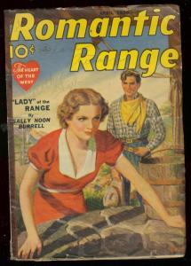 ROMANTIC RANGE APR 1938-LADY OF THE RANGE-BURRELL-PULP VG