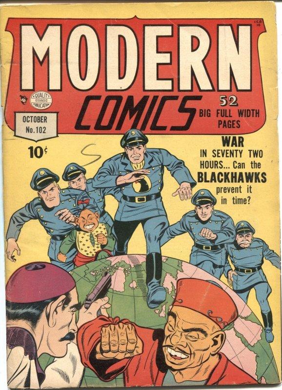 MODERN COMICS #102-1950--BLACKHAWK-TORCHY-SPIRIT BY WILL EISNER-RARE FINAL ISSUE