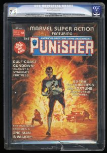 Marvel Super Action Magazine (1976) #1 CGC VF- 7.5 Early Punisher Appearance!