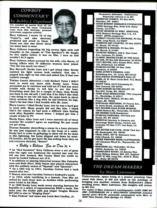 Western Clippings #30 1999-B-Wesrern movie fanzine-Rory Calhoun-FN