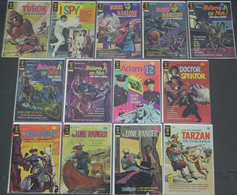 Bronze Age Gold Key Comics Lot of 13 Comic Books Turok Lone Ranger Boris Karloff