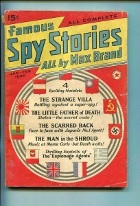 FAMOUS SPY STORIES-JAN-1940-PULP-SOUTHERN STATES PEDIGREE-vg