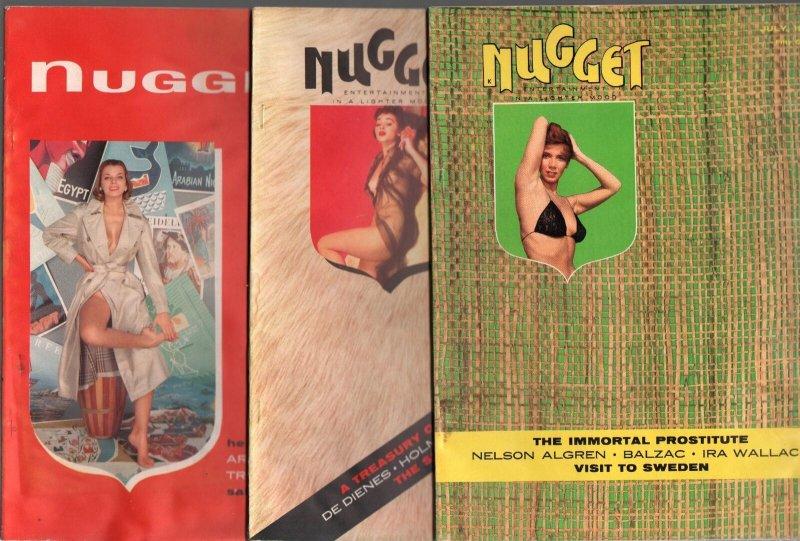 Nugget Magazine Lot 1950's-Playboy imitator-cheesecake-15 issues-Dali-Goldbeg