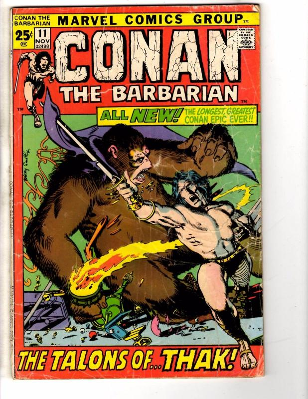 Conan The Barbarian # 11 VG Marvel Comic Book Barry Windsor Smith Art WI1