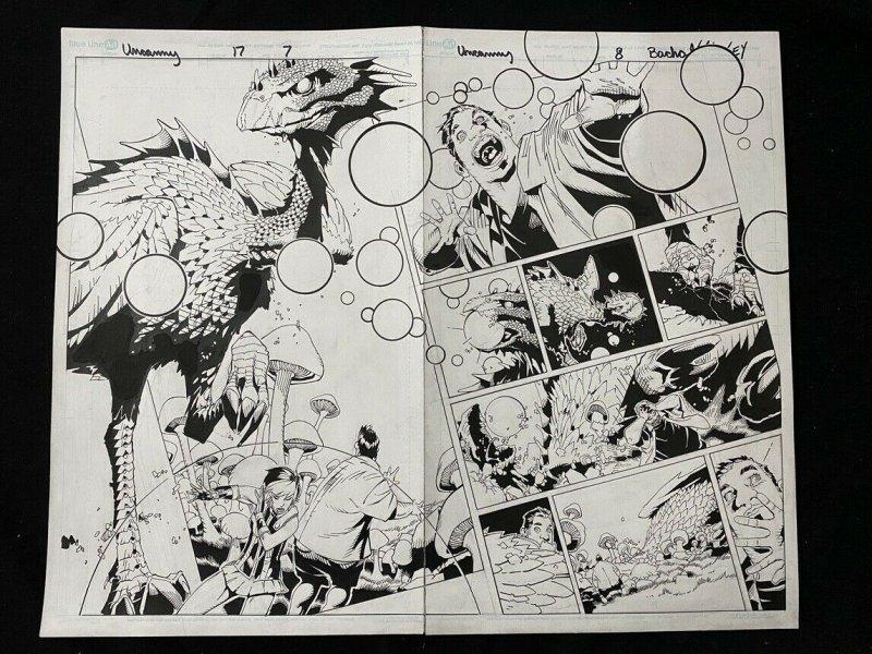 Uncanny X-Men #17 Page 7 & 8 Original Comic Book Art- Chris Bachalo