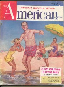 American Magazine 7/1953-family beach day cover-Hugh B Cave pulp fiction-clas...