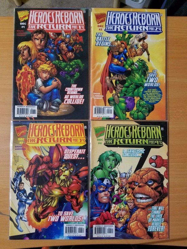 Heroes Reborn The Return 1-4 Complete Set Run! ~ VERY FINE - NEAR MINT NM ~ 1997