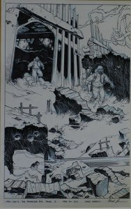 CHAD HARDIN original art, Stan Lee's TRAVELER #5 pgs 2-3, 21x 17, Lg Splash, FBI