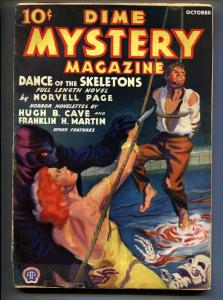 DIME MYSTERY October 1933-Hooded menace torture cover-Pulp mag