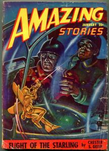 Amazing Stories Pulp January 1948- Flight of the Starling- VG