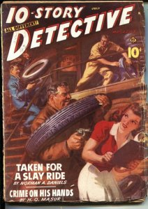 10-STORY DETECTIVE--JULY 1942--NORMAN SAUNDERS CRIME PULP  COVER--ROBERT TURNER