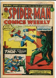Spider-Man Comics Weekly #20 1973- British- Thor- Crime-Master VG
