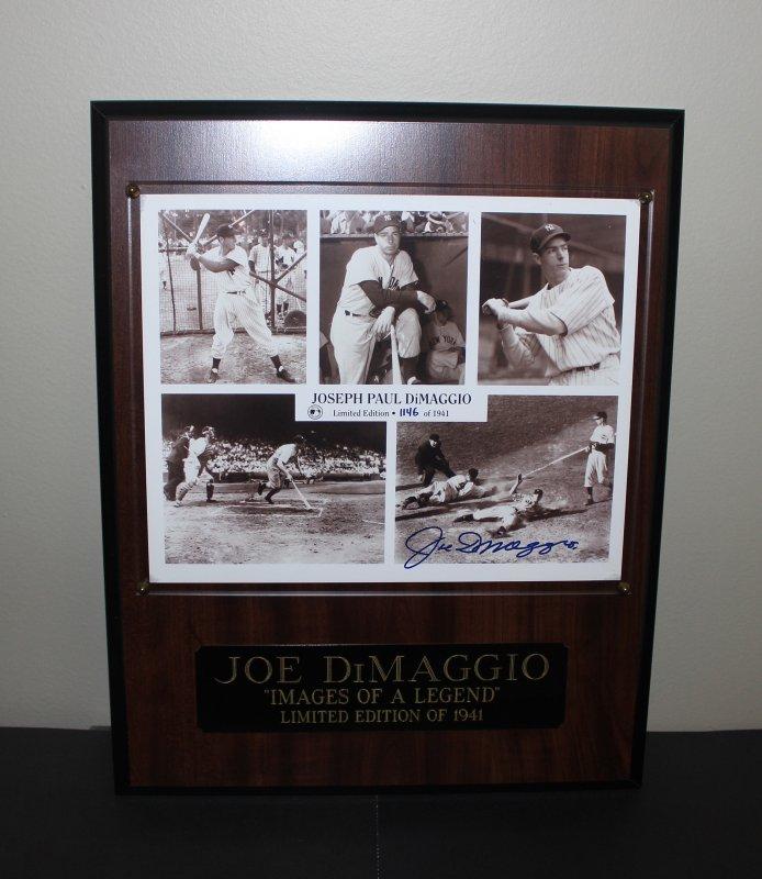 Joe DiMaggio Limited Edition Autographed 1941 commemorative Plaque