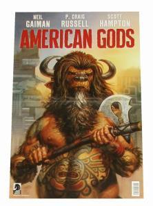 Neil Gaiman American Gods Folded Promo Poster 11 x 17 (Dark Horse, 2017) New!