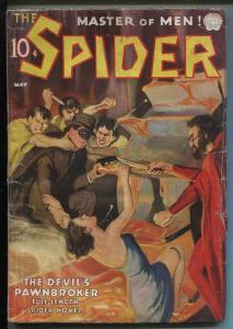 SPIDER  5/1937-POPULAR PUBS-WEIRD MENACE-TERROR-DEVIL'S PAWNBROKER-vg