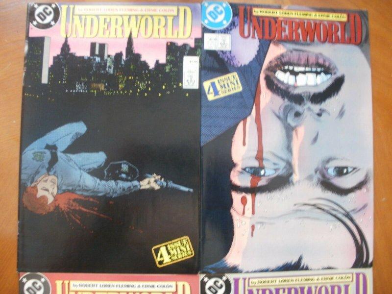 4 DC Comic Mini-Series: UNDERWORLD #1 #2 #3 #4 (1987) Crime (Fleming & Colon)