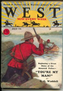 West 7/7/1928-Fred C Everett RCMP Mountiet cover-pulp fiction-Frank C Roberts...