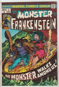 Frankenstein, the Monster of #5 (Sep-73) FN- Mid-Grade Frankenstein