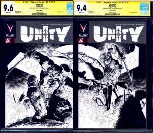 Unity #1 BLANK CONNECTING LOT CGC SS Ninjak vs Bloodshot by Jeff Edwards VALIANT