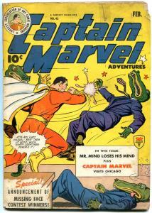 Captain Marvel Adventures #43 1945- Fawcett Golden Age- alligator cover