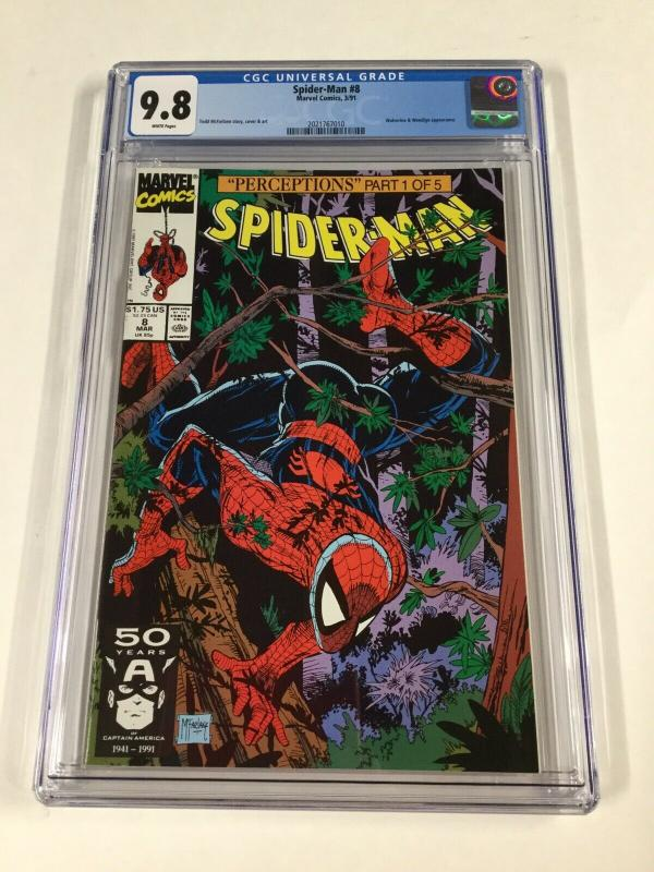 Spider-man 8 Cgc 9.8 White Pages Todd McFarlane Cover 1990 Series