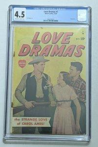 Love Dramas #1 (Oct 1949, Timely) CGC 4.5