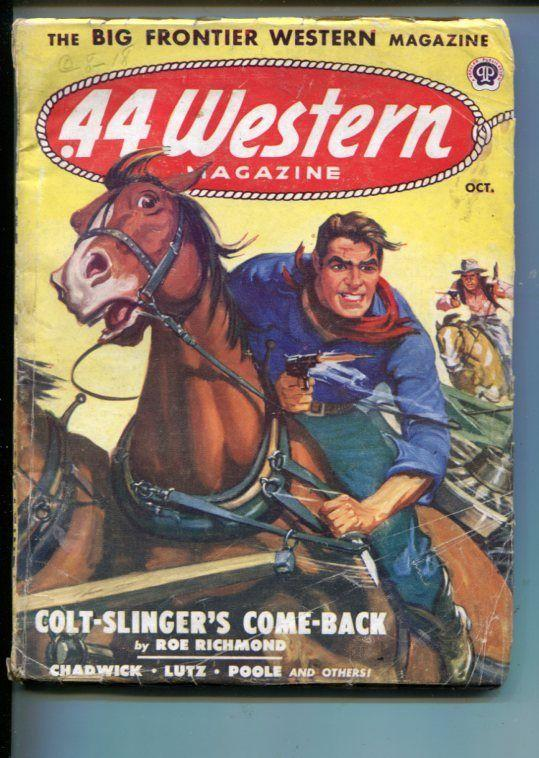 .44 WESTERN-10/1950-VIOLENT WESTERN PULP THRILLS- GUNFIGHT COVER-RICHMOND-vg