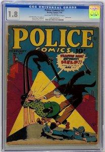 Police Comics #27 Quality 1944 CGC 1.8 GD- Jack Cole Plastic Man W Eisner Spirit