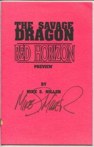 Savage Dragon - Red Horizon preview 1996-signed by artist Mike S Miller-early pa