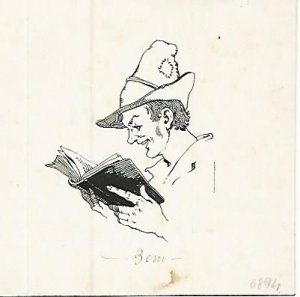 DIBUJO 3653: ROSTRO LEYENDO. Boceto en tinta negra