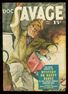 DOC SAVAGE JULY 1943-MYSTERY ON HAPPY BONES-PULP   S&S FN-
