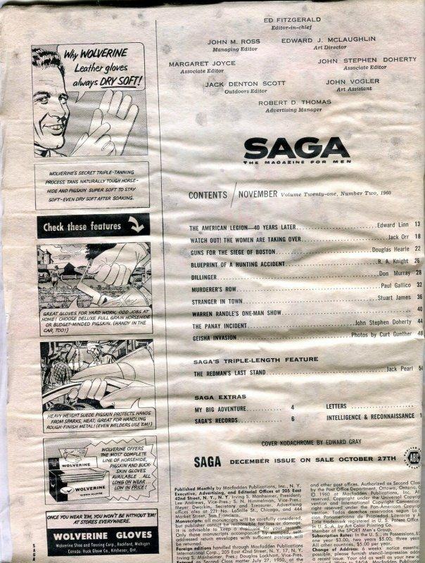 Saga Magazine November 1960-HUNTING ACCIDENT-AMERICAN LEGION-GEISHAS FR
