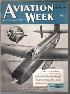 Aviation Week 7/16/1951-submarine chaser cover-aviation photos-stories-info-VG