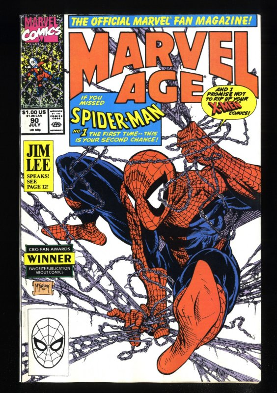 Marvel Age #90 NM- 9.2 McFarlane Spider-Man Cover!