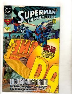 12 Superman Man Of Steel DC Comics # 30 (2) 31 32 33 34 35 36 121 123 125 0 J329