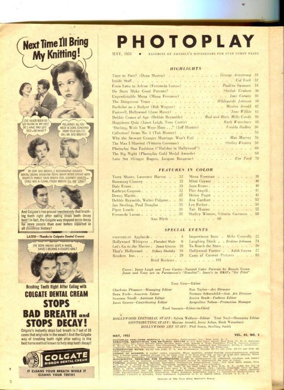 Photoplay-Tony Curtis-Stewart Granger-Debbie Reynolds-May-1953