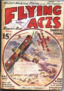 FLYING ACES 1933 Sept-PHILIP STRANGE HERO & AVIATION PULP-BI PLANE BATTLE
