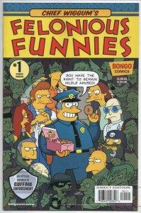 FELONIOUS FUNNIES #1, NM, Simpsons, Bongo, Chief Wiggum, Bart, Homer, 2018
