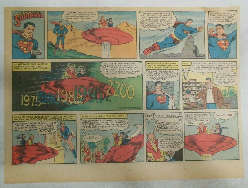Superman Sunday Page #1120 by Wayne Boring from 4/2/1961 Size ~11 x 15 inches