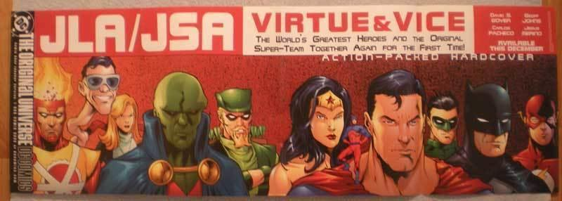 JLA / JSA (VIRTUE & VICE) Promo poster, 2002, Unused, more in our store