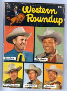 Dell Giant Western Roundup #1 (Jun-52) VG- Affordable-Grade Roy Rogers, Dale ...