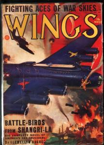 WINGS PULP-WINT 1943-FLYING AIRCRAFT CARRIER COVER! WOW VG